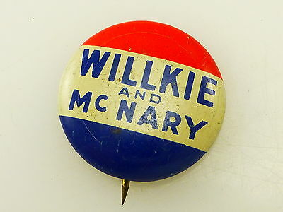 Vintage Willkie and McNary Green Duck Political Pin Pinback Button