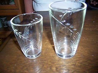 FIRE KING ,ANCHOR HOCKING SHEAVES OF WHEAT CRYSTAL GLASSES TWO