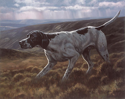 POINTER ENGLISH DOG FINE ART LIMITED EDITION PRINT Moorland Point John Trickett