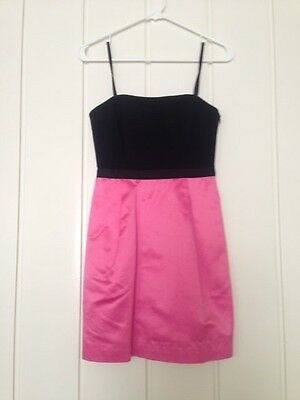 BCBG Max Azria strapless black and pink color block cocktail/Prom dress, size 0