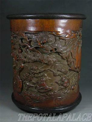 Fine Old Chinese Bamboo Root Carved Brush Pot~FIGURES LIVING  LEISURELY & PINE