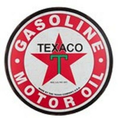 "Big 30"" Good Quailty Round Metal Texaco Gasoline & Motor Oil Sign Man Cave Shop"