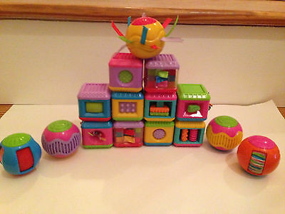 FISHER PRICE BABY TOUCH SENSATION TEXTURE PEEK A BLOCKS & ROLL AROUND BALL LOT