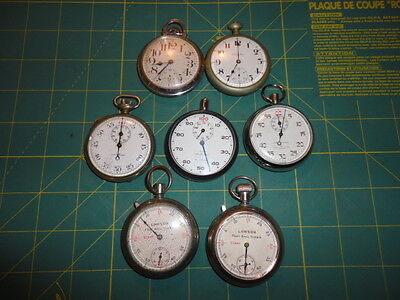 VINTAGE Stopwatch Pocket Watch Football Timer For Parts Non Working Lot (7)