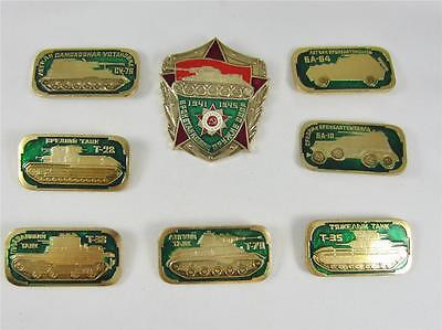 Lot of 8 Soviet WW2 Tank Badges Russian WWII Armor Pins Insignia
