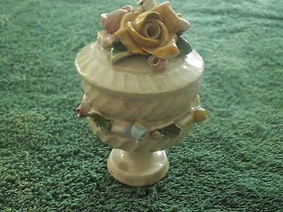 Vintage Trinket Box with Capodimonte Roses Pedestal signed N or Z