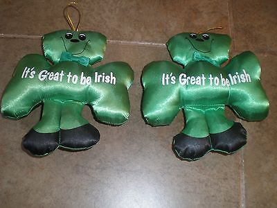 "Vintage Russ Stuffed Lot of 2 Irish clover - New 6 1/2"" long"