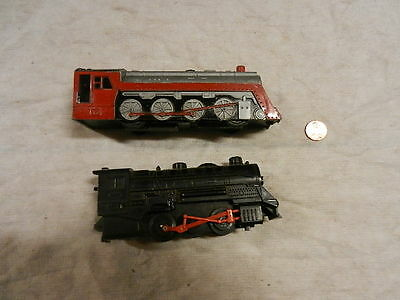 2 Marx train engine toys: black battery operated, gray floortoy, ships FREE!