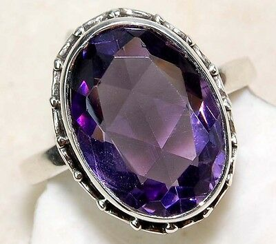 6CT Natural Amethyst 925 Solid Genuine Sterling Silver Detailed Design Ring Sz 6