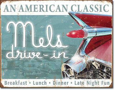 """""""MELS DRIVE-IN"""" AN AMERICAN CLASSIC VINTAGE STYLE METAL SIGN GARAGE,SHOP,HOME."""