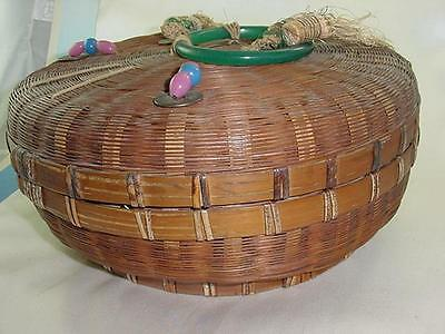 Victorian Chinese Sewing Wicker Basket Peking Glass Ring  Beads Coins & Tassels