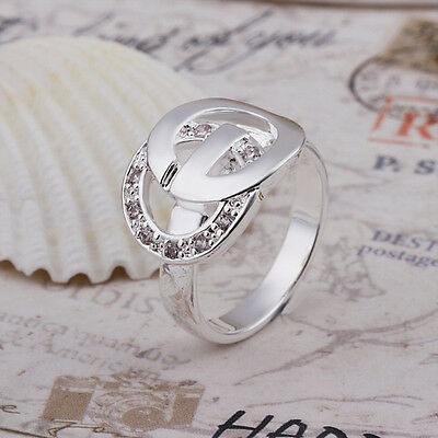 Beautiful new fashion sterling solid silver rings size Q RL091 +gift box