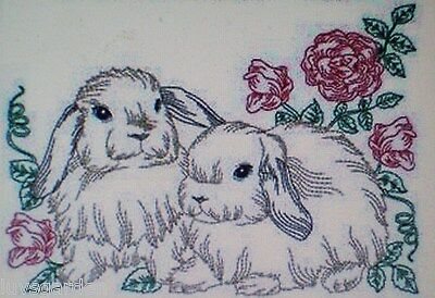 BUNNIES IN THE GARDEN BATHROOM SET HAND TOWELS EMBROIDERED