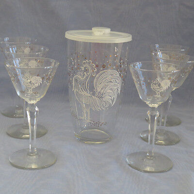Vtg Retro Libbey Rooster Glass Cocktail Shaker Martini Set  Mixer and 6 Glasses