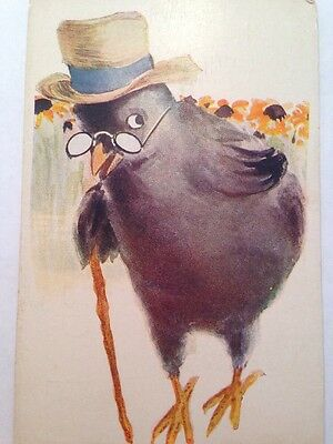 """Antique Vintage Post Card 1920s National Art Co """"The Parson"""" Bird Dressed As Man"""