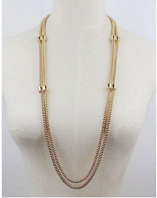 New Fashion Gold Plated Double Link Chain Hollowed Snake Chain Long Necklace