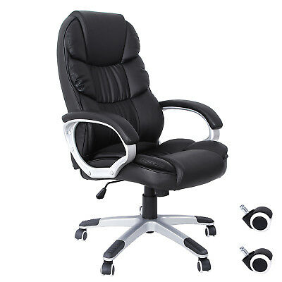 Songmics Bürostuhl schwarz chefsessel Lederimitat gaming chair OBG24B