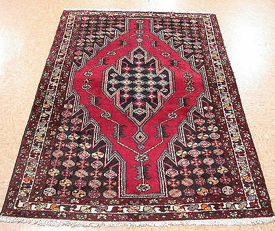 4 x 7 Persian Mazlaghan Tribal Hand Knotted Wool Red Oriental Area Rug Carpet