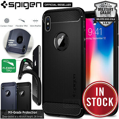 iPhone X Case, Genuine SPIGEN Rugged Armor Resilient Soft SLIM Cover for Apple