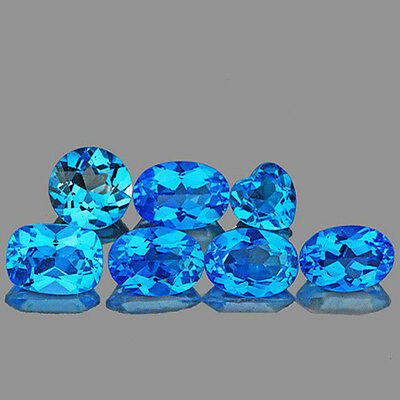 IF 6.07CTS MIXSHAPE 7-5mm BEST SPARKLING SWISS BLUE TOPAZ 100% NATURAL {SEE VDO}