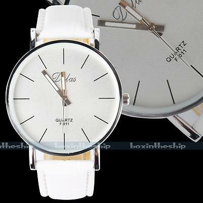 New Fashion White Leather Women Lady Girl's Concise Analog Quartz Wrist Watch