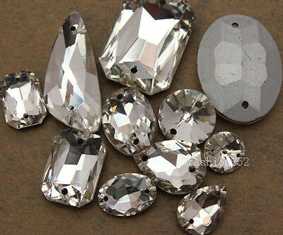 15pcs Sew On faceted Glass Crystal Rhinestones Point Back botton mix size&shape