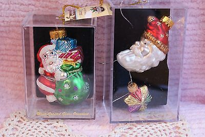 Lot of 2 Designers Studio Sterling Co. Hand Crafted Glass Santa Claus Ornaments