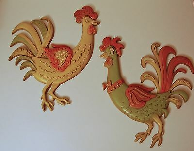 Chicken wall hangings set of 2, cast metal, green, yellow and orange, vintage