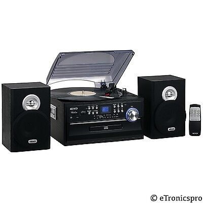 JENSEN 3-SPEED HOME STEREO CD CASSETTE RECORD PLAYER TURNTABLE AM/FM RADIO NEW