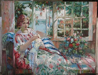 Beautiful Lady Knitting By Flower Filled Window- American Oil-1980's-By Vendi