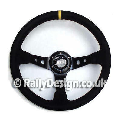 """Steering Wheel 350mm with 3"""" (75mm) dished Black Suede Race Rally SVi-4125BSU"""