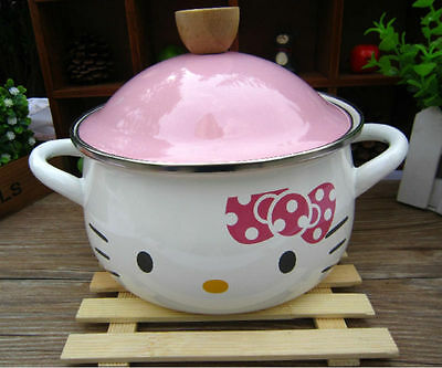 Cute Hello KITTY 18cm 2.2 Liter Multiple Daily Home Use Enamel Boiling Pot