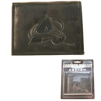 Colorado Avalanche Black Leather Tri-fold Wallet