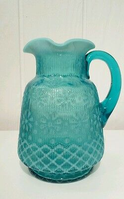 BLUE OPALESCENT GLASS CHRISTMAS SNOWFLAKE RIBBED WATER PITCHER  NORTHWOOD
