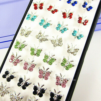 Wholesale 40pcs Butterfly Mixed Color Crystal 925Sterling Silver Stud Earrings