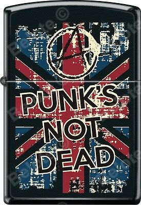 Zippo Punks Not Dead Poster Black Matte WindProof Lighter NEW