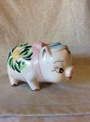 "NASCO Vintage Hand Painted Ceramic Pig Piggy Bank ""Cash Only"" Saying"