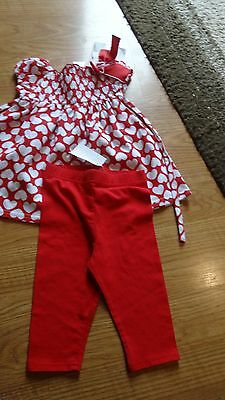 Sweet Heart Rose Red and White Heart Top Dress/Leggings 2 Piece Sz 12 Month NWT