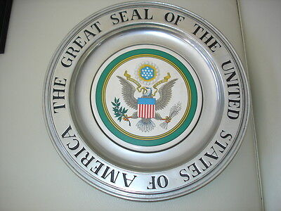 "RARE Vintage US ""GREAT SEAL"" Pewter Plate w TILE 11"" by ""Wilton Columbia PA."""