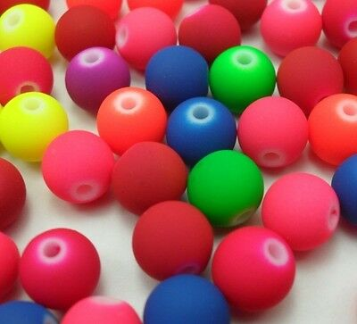 40pcs Mixed color round fluorescence bead Loose bead Charms Findings 10mm P139