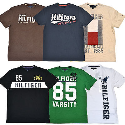 Tommy Hilfiger Graphic T-Shirts Mens Lot of 4 Tees Logo All Colors Sizes P064