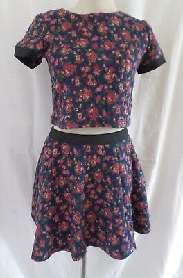 Freespirit Girls Quilted Flock Floral Crop Top and Ra Ra Skirt Age 6-14 Years