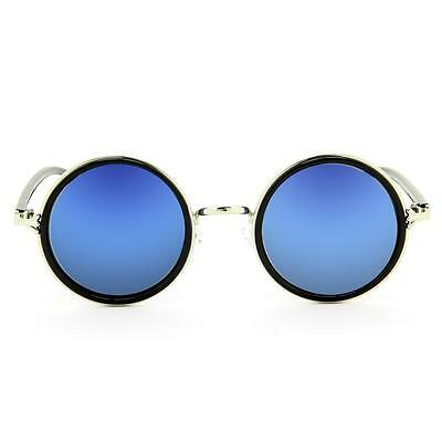 Fashion Womens Mens Vintage Round Sunglasses Metal Frame Blue Mirrored New