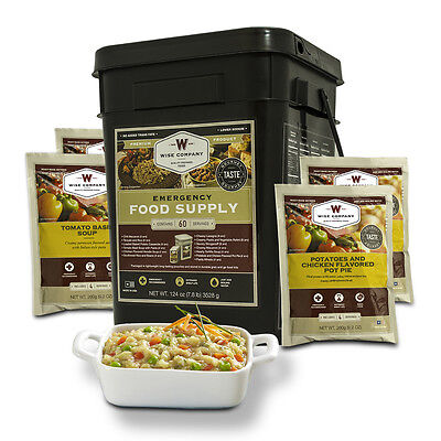 Wise products long term food storage 60 servings real meat pasta rice bucket