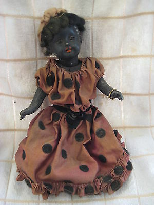 Antique Rare Black  Doll Circa 1800s Early 1900s Wonderful Piece of History