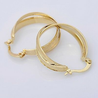 Gorgeous 14K Solid Yellow Gold Filled Hoop Style Womens Jewelry Earrings E019