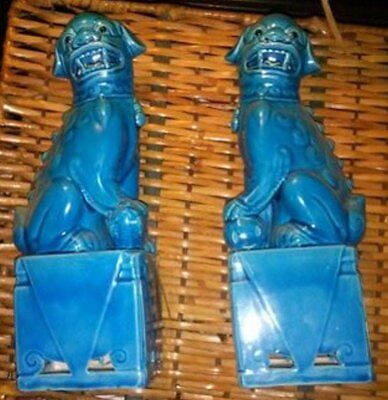 VINTAGE PAIR OF TURQUOISE CHINESE FOO DOGS BLUE GLAZE