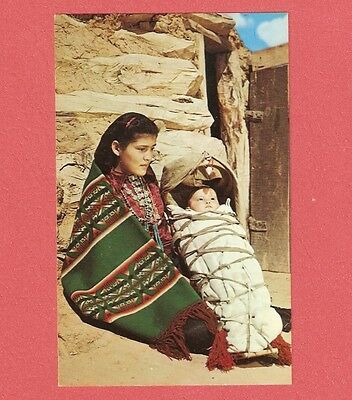 VNTG NATIVE AMERICAN NAVAJO INDIAN MOTHER WITH PAPOOSE PHOTO POSTCARD