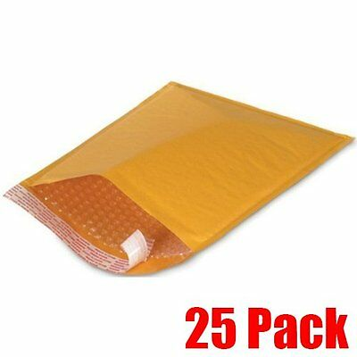 """NEW - 25 #000 4"""" x 8"""" KRAFT BUBBLE MAILERS PADDED MAILING SHIPPING ENVELOPES"""