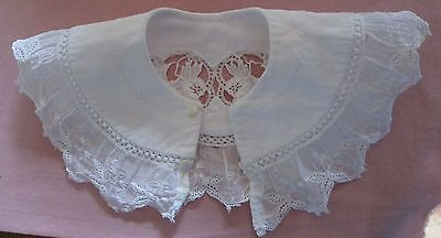"""child's antique embroidered French vintage  lace COLLAR 10.5"""""""